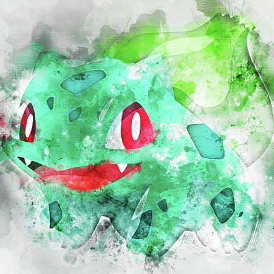 Pokemon Bulbasaur Abstract Portrait - By Diana Van Poster by Diana Van