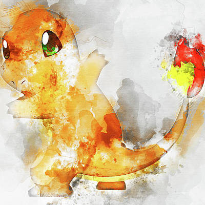 Pokemon Charmander Abstract Portrait - By Diana Van Poster by Diana Van