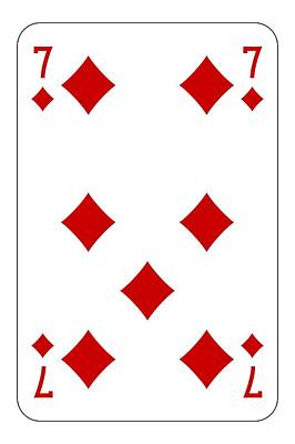Poker Playing Card 7 Diamond Poster by Miroslav Nemecek