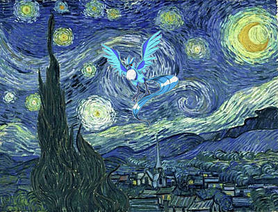Poster featuring the digital art Pokevangogh Starry Night by Greg Sharpe