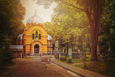 Pokrov Cemetery And Orthodox Church Riga Latvia  Poster
