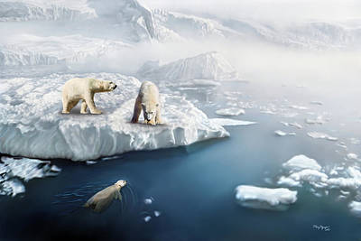 Poster featuring the digital art Polar Bears by Thanh Thuy Nguyen