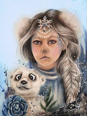Poster featuring the drawing Polar Precious  by Sheena Pike