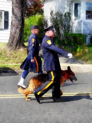 Policeman And Dog In Parade Poster by Susan Savad