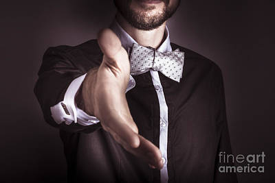 Polite Sophisticated Man Offering His Hand Poster by Jorgo Photography - Wall Art Gallery