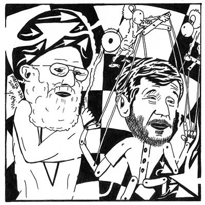 Political Maze Cartoon Of Khamenei And Ahmadinejad As His Puppet Poster