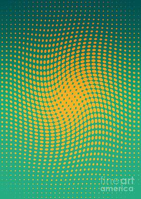Polka Dots With A Twist Orange And Green Op-art Poster by Heidi De Leeuw