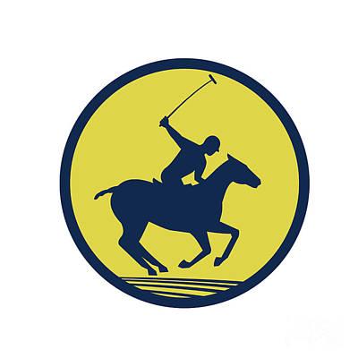 Polo Player Riding Horse Circle Retro Poster