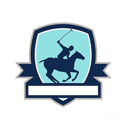Polo Player Riding Horse Crest Retro Poster