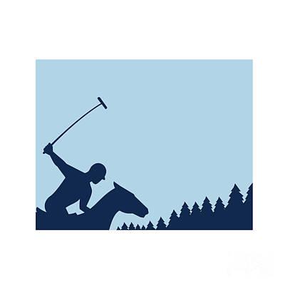 Polo Player Riding Horse Trees Square Retro Poster