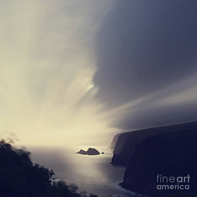 Pololu Valley Moonrise - Hipster Photo Square Poster by Charmian Vistaunet