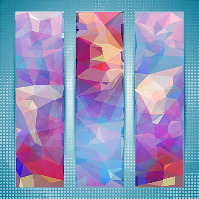 Polygon Abstract In 3 Frames Poster
