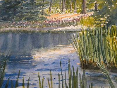 Pond At The Apple Orchard Poster by Donna Cary