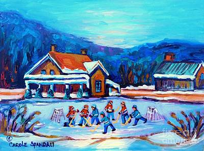 Pond Hockey Painting Canadian Art Original Winter Country Landscape Scene Carole Spandau    Poster by Carole Spandau