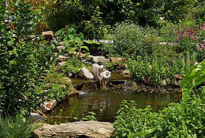 Pond In The Garden Poster by Sandy Keeton