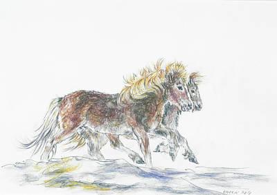 Ponies Poster by Katrin J Oskarsdottir