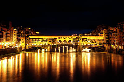 Ponte Vecchio At Night Poster by Andrew Soundarajan