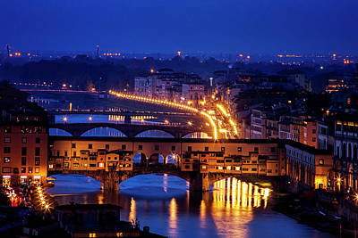 Ponte Vecchio At Twilight Poster by Andrew Soundarajan