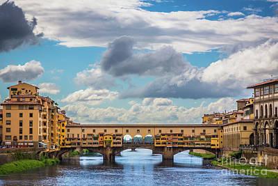 Ponte Vecchio Clouds Poster