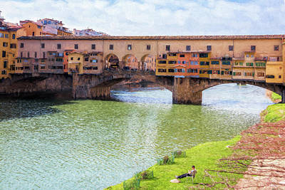 Ponte Vecchio Florence Italy II Painterly Poster by Joan Carroll