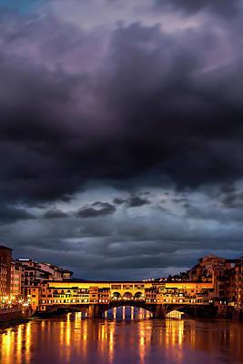 Ponte Vecchio Illuminated Poster by Andrew Soundarajan