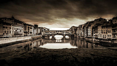 Ponte Vecchio In Sepia Poster by Sonny Marcyan