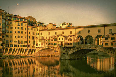 Poster featuring the photograph Ponte Vecchio Morning Florence Italy by Joan Carroll