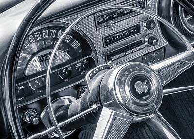 Pontiac Chieftain Dash And Steering Wheel Poster by Jim Hughes