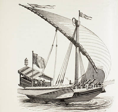 Pontifical Galley With Sails, Oars And Poster