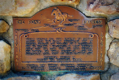 Pony Express 100 Year Plaque Poster by Thomas Woolworth