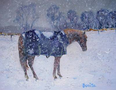 Pony In The Snow Poster by Bonita Waitl