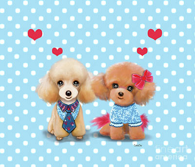 Poster featuring the painting Poodles Are Love by Catia Lee
