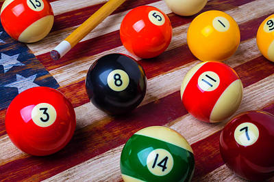 Pool Ball On American Flag Poster by Garry Gay