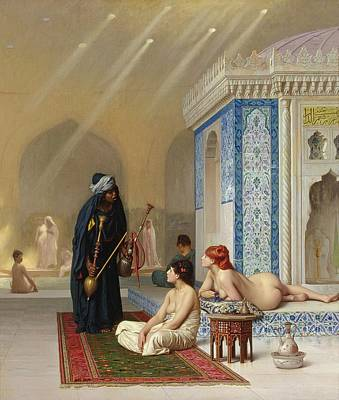 Pool In A Harem Poster by Jean Leon Gerome