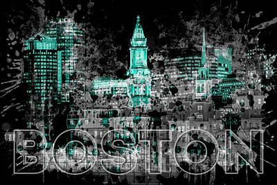 Pop Art Boston Skyline - Cyan Poster
