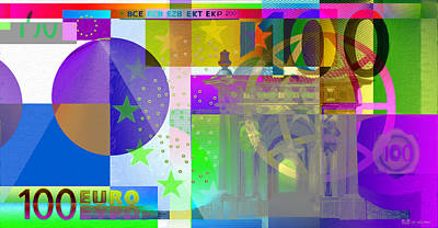 Pop-art Colorized One Hundred Euro Bill Poster by Serge Averbukh