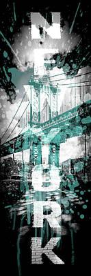 Pop Art Manhattan Bridge - Cyan Poster