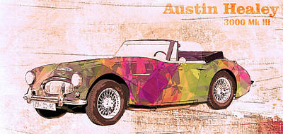Pop Art Orange Austin Car Poster