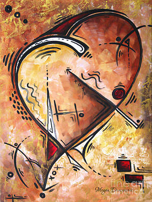 Pop Of Love Heart Painting Gold Metallic Red Unique Style Wild At Heart By Madart Poster by Megan Duncanson