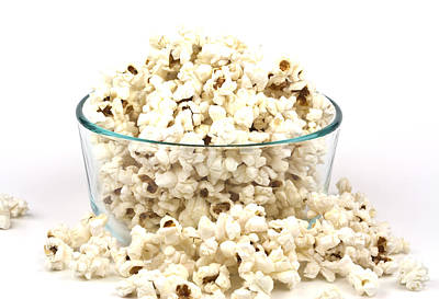 Popcorn In Glass Bowl Poster by Blink Images