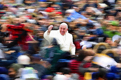 Pope Francis In Crowd Of Faithful Acrylic 5 Poster by Tony Rubino