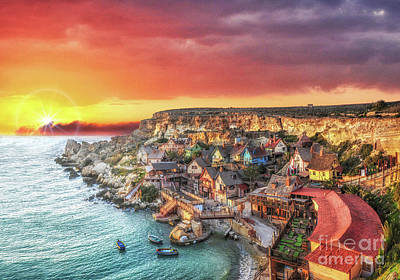 Popeye's Village At Sunset Poster by Stephan Grixti
