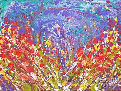 Poppies Abstract Meadow Painting Poster