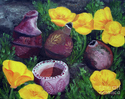 Poppies And Pottery Poster