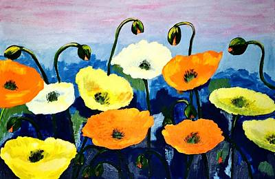 Poppies In Colour Poster