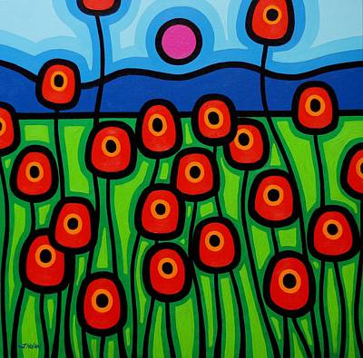 Poppies In Motion Poster by John  Nolan