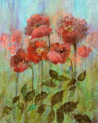 Poppies In Pastel Watercolour Poster