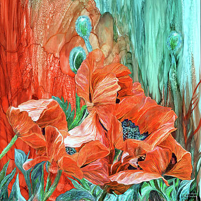 Poppies - Love In Bloom Poster by Carol Cavalaris