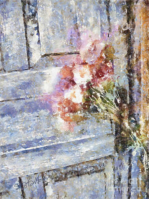 Poppies On Weathered Door Poster by Shirley Stalter