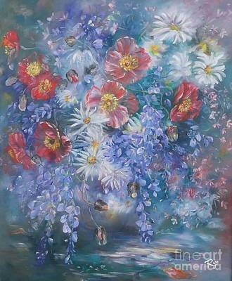 Poppies, Wisteria And Marguerites Poster